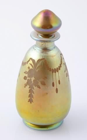 1013: Steuben Gold Aurene on Calcite Perfume Bottle