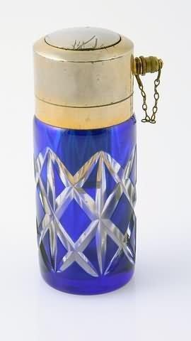 1017: Baccarat Cobalt Blue and Clear Cut Glass Atomizer