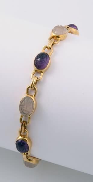 2272: Amethyst and Quartz Scarab Bracelet