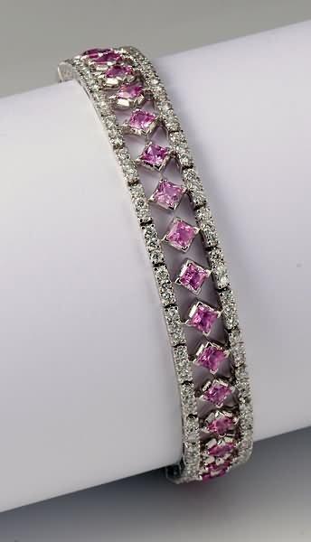 2282: Diamond and Pink Sapphire Bracelet