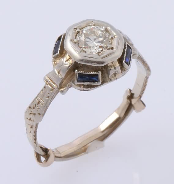 2283: Diamond and Sapphire Ring