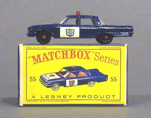 5009: Matchbox #55 Ford Fairlane Police Car, Black Whee