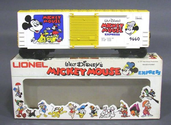 5019: Lionel 4 Mickey Mouse Walt Disney Freight Cars, O