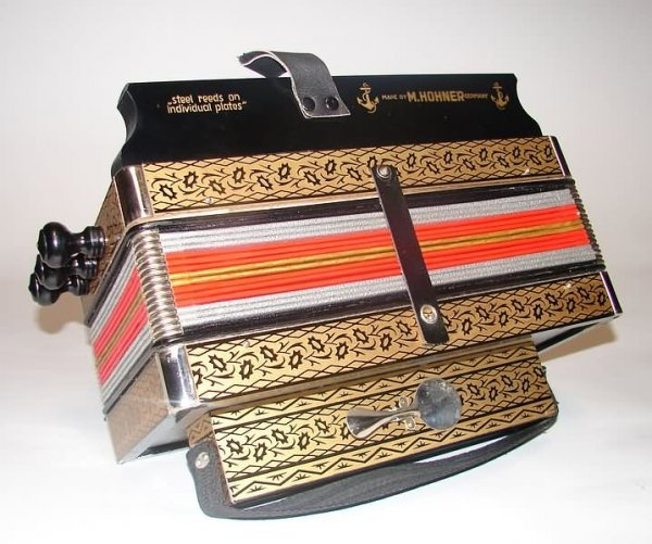 5501: Hohner 10 Button Accordian with Box - Like New
