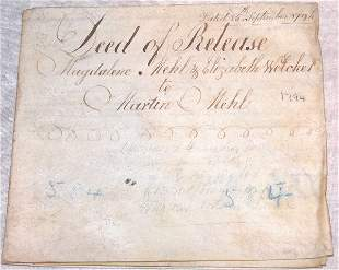 18th Century Deed of Release-Philadelphia.