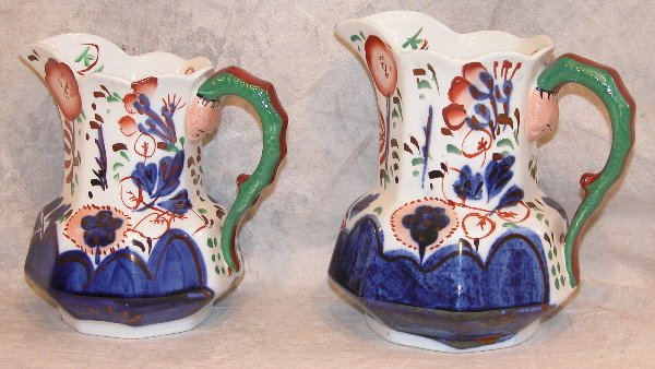 542: Two Gaudy Welsh Pitchers – Snake Handles.