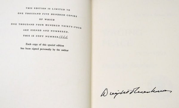 2003: Autograph of Dwight D. Eisenhower-Signed Book