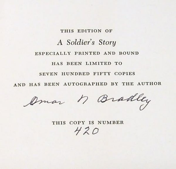 2005: Autograph of Omar Bradley-Signed Book