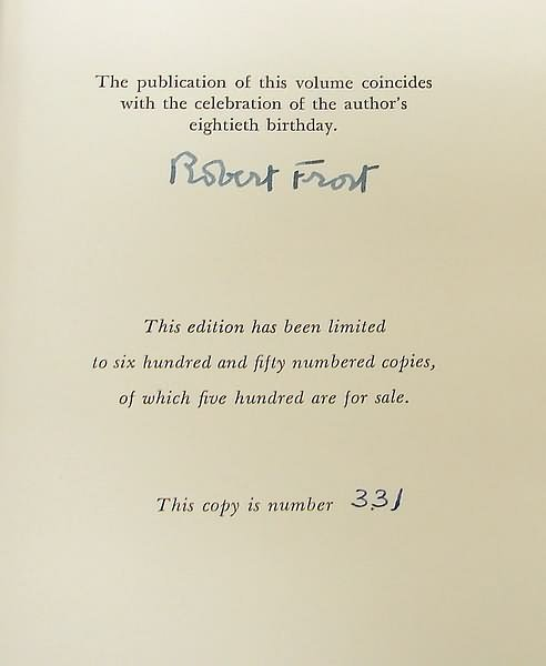 2007: Autograph of Robert Frost-Signed Book