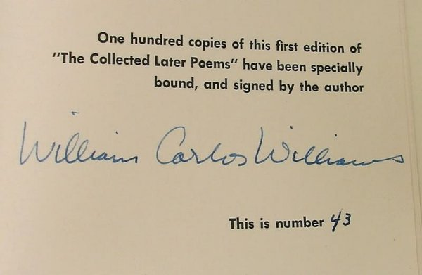 2010: Autograph of William Carlos Williams -Signed Book