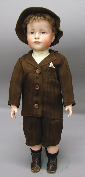 """1006: German Bisque, 19"""" K*R 114 (Hans) Character Doll"""