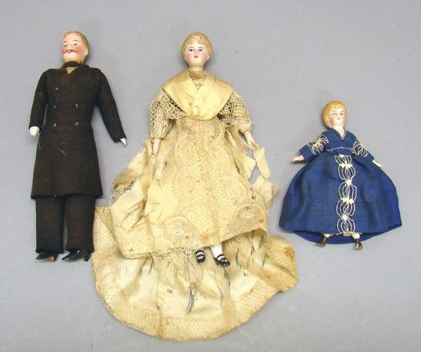 1007: Lot of Three German Bisque Head Doll - House Doll