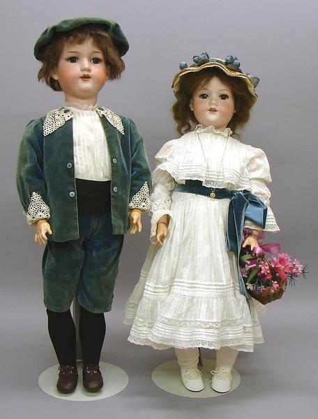 1012: Pair of Girl/Boy AM 390 German Bisque Dolls