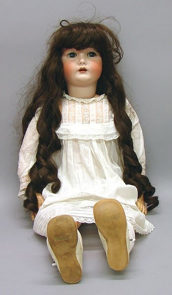 """1013: German Bisque 33"""" K*R S&H 117n. Character Doll"""