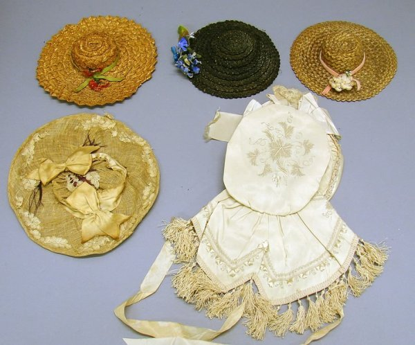 1014: Lot of 5 Antique Doll Hats
