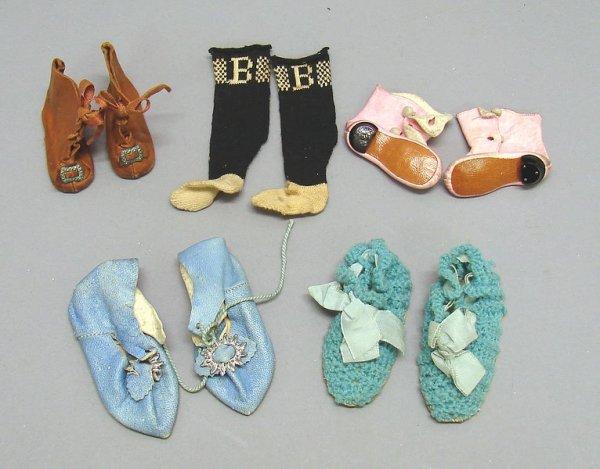 1015: Lot of 5 Pairs of Antique Doll Shoes