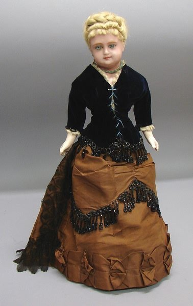 """1017: 17"""" Wax-over Paper Mache Turned Head Doll"""