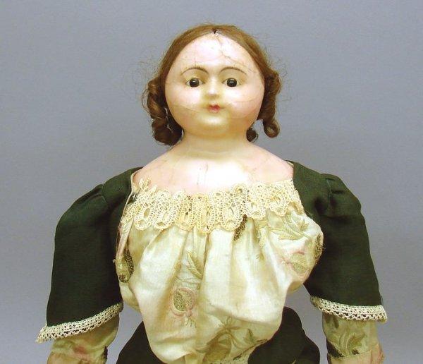 "1019: 19"" English Slit Head Wax-over Papier Mache Doll"