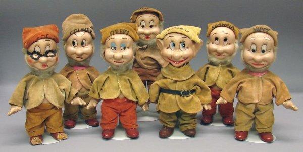 """1020: 7 Knickerbocker 9"""" Compo Disney Dwarf Dolls"""