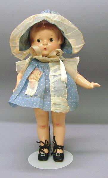 """1021: 14"""" Compo Effanbee Patsy Doll with Wardrobe"""