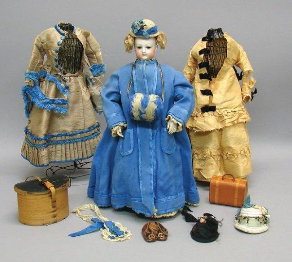 "1070: French Bisque 14.5"" B2V Fashion Doll and Wardrobe"