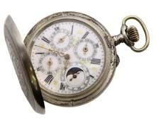 Silver Moon Phase Calendar Pocket Watch