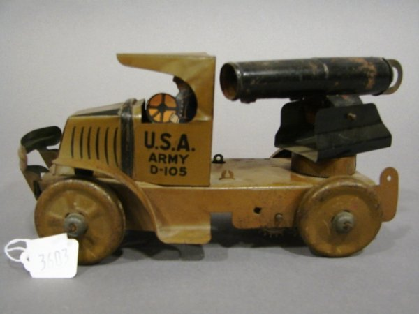 3603: Marx C-Cab Mack Army Cannon wind-up truck