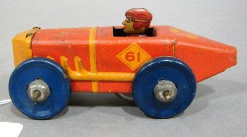 "3613: Marx #61 boat tail friction racer.  4 3/4"" in len"