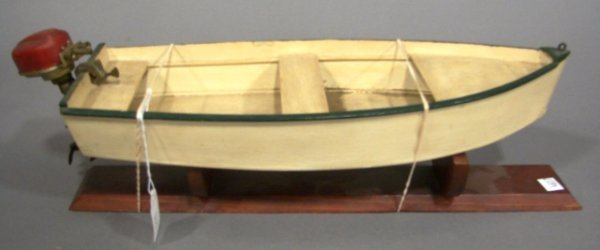 3622: Wooden boat with battery op. DC motor by Sakai, J