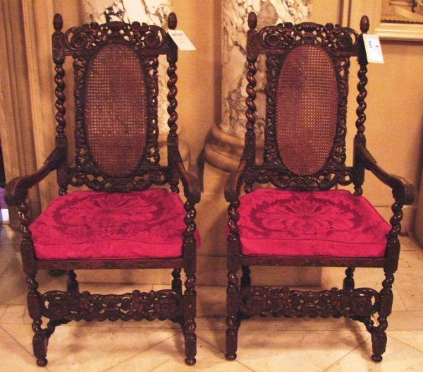 4008: Pair of Baroque carved arm chairs