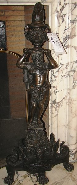 4009: Pair of figural bronze andirons