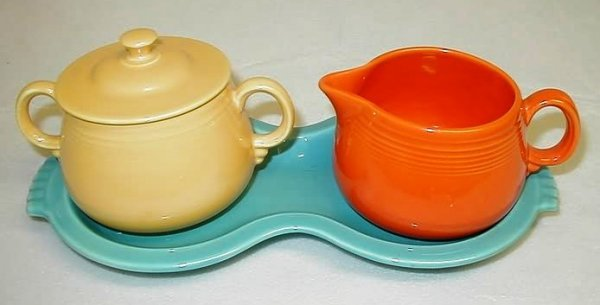 7010: Fiesta Sugar and Creamer with Figure 8 tray.