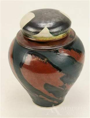 Lidded Studio Pottery Vase