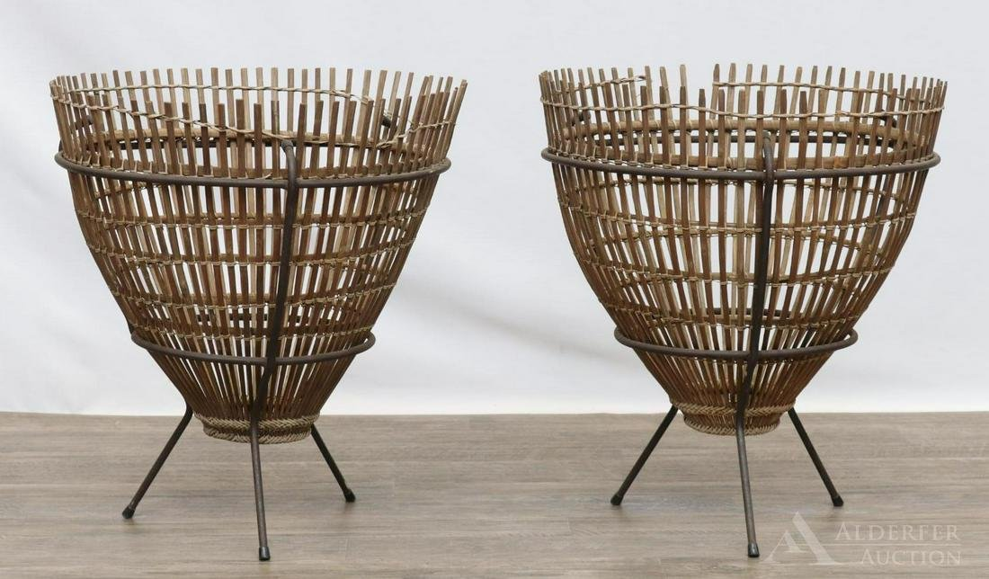 Wrought Iron and Bamboo Side Tables