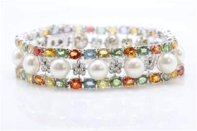 18KW Gold Sapphire, Pearl and Diamond Bracelet