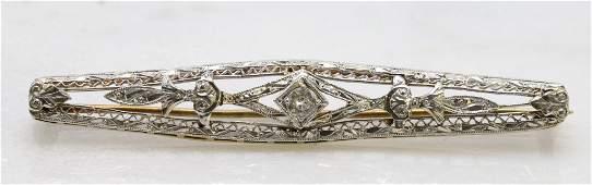 14KY and White Gold Diamond Filigree Bar Pin