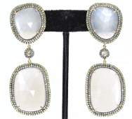 Moonstone Sapphire and Diamond Earrings