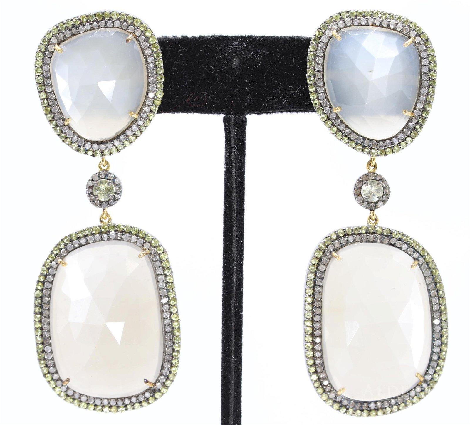Moonstone Sapphire and Diamond Earrings
