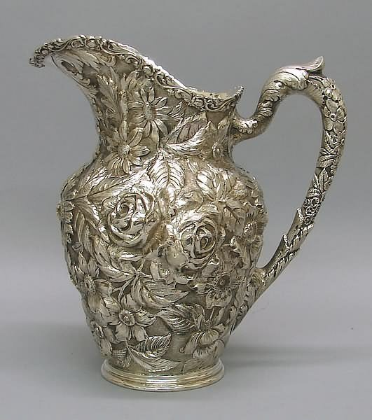 """2153: Schofield """"Baltimore Rose"""" Repousse Water Pitcher"""