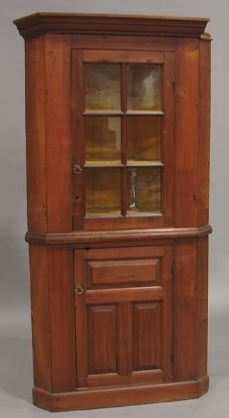 2297: Walnut Corner Cupboard