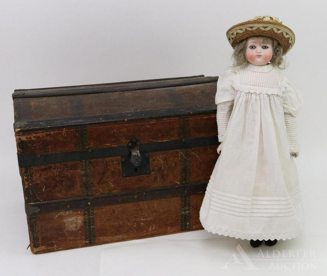 GERMAN BISQUE HEAD DOLL WITH TRUNK, WARDROBE.