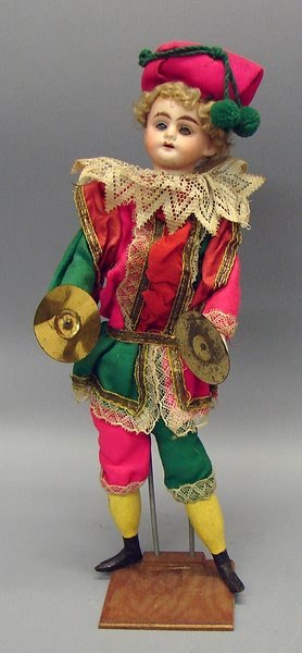 "5015: 13"" 11/0 Mechanical Jester Doll with Cymbals"