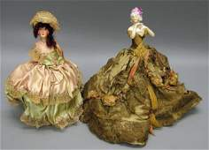 5088: Pair of China/Papier Mache Half Dolls