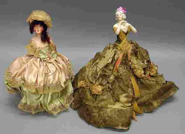 Pair of China/Papier Mache Half Dolls
