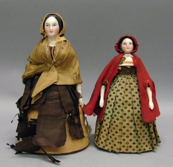 5093: Pair of 19th C. China Pincushion Dolls