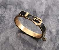 10K Rose Gold Black Enamel Victorian Bracelet