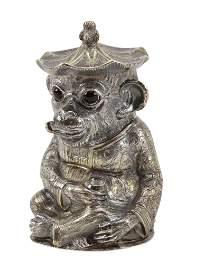 Victorian Silver Monkey Mustard Pot