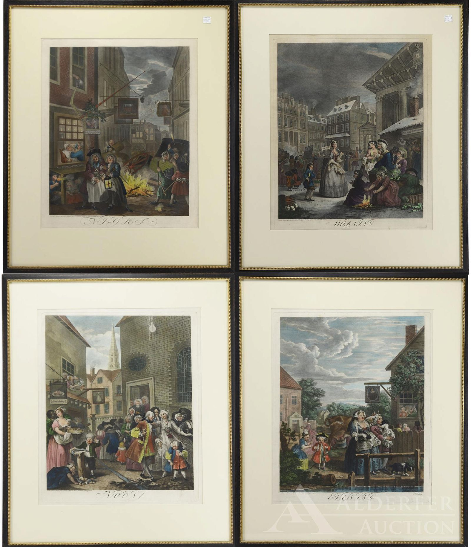 Copperplate Etchings by William Hogarth-Four Times of