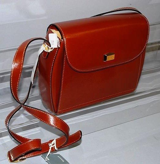 3001: Bally Brown Leather Handbag w/ Tan Stitching
