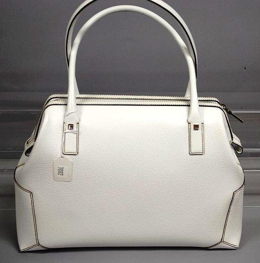 3002: S Ferragamo White Pigskin Leather Satchel Handbag